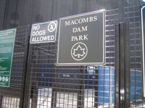 Macombs Dam Park - sign along the walk to the handicapped entrance